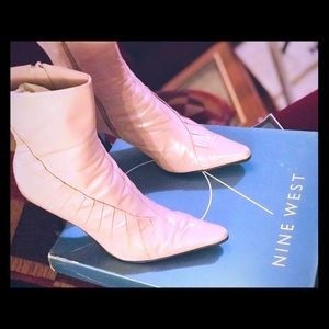 Pink Leather Ankle Ruched Nine West Boots